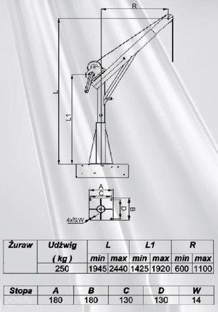DOSTAWA GRATIS! 53368254 Żuraw ze stopą i wciągarką ręczną z liną 12m (udźwig: 250 kg, wysokość podnoszenia: 1945-2440 mm)