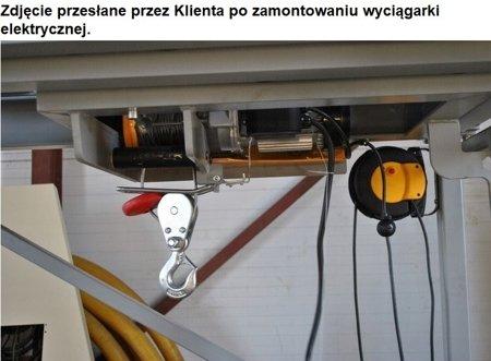 DOSTAWA GRATIS! 55970067 Wyciągarka linowa elektryczna, hamulec automatyczny + wózek elektryczny (udźwig wyciągarki: 500/990 kg, udźwig wózka: 1000 kg, szerokość belki dwuteownika do 220mm)