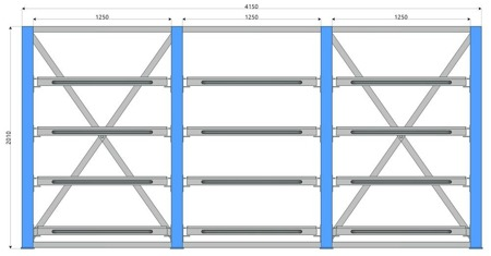 DOSTAWA GRATIS! 77172084 Regal zestaw 3 przęsła po 4 półki (wymiary: 2010x4150x1300 mm, obciążenie półki: 800 kg)