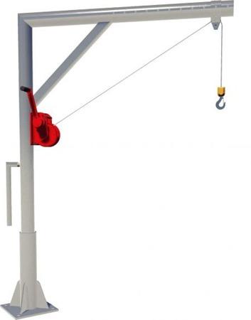 DOSTAWA GRATIS! 95871616 Żuraw słupowy z wciągarką ręczną (udźwig: 150 kg)