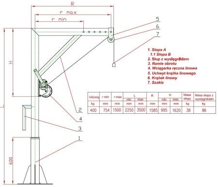 DOSTAWA GRATIS! 95871617 Żuraw słupowy z wciągarką ręczną (udźwig: 400 kg)
