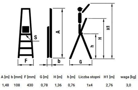 DOSTAWA GRATIS! 99674622 Drabina domowa 4 stopniowa wysokość robocza 2,76m, czerwona