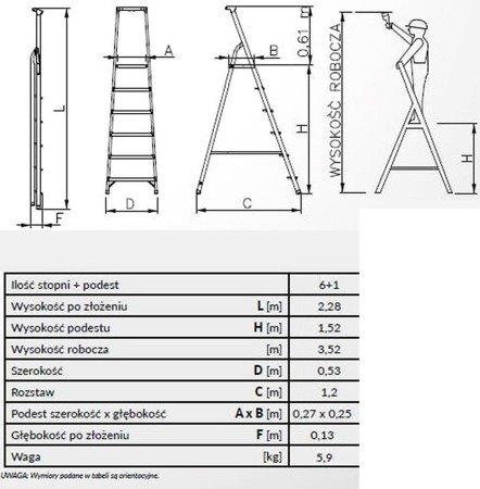 DOSTAWA GRATIS! 99674666 Drabina wolnostojąca Drabex 7 stopniowa z półką i haczykiem (wysokość robocza: 3,52m)