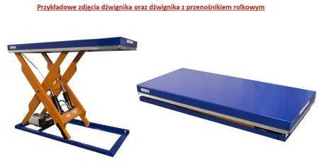 Dźwignik nożycowy hydraulicznyz przenośnikiem rolkowym (udźwig: 2000 kg, wymiary platformy: 2000x900mm, wysokość podnoszenia min/max: 230-1300mm, moc: 1,5kW) 03076484