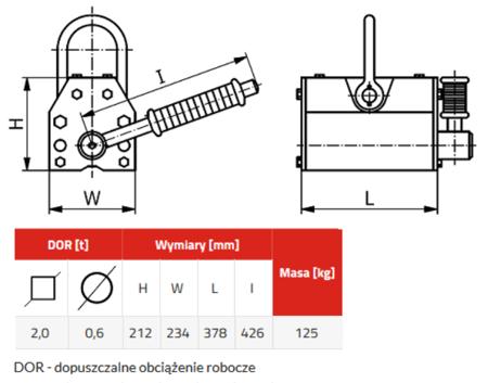 IMPROWEGLE Chwytak magnetyczny z magnesem stałym PKN 2,0 (udźwig: 2 T) 3398531