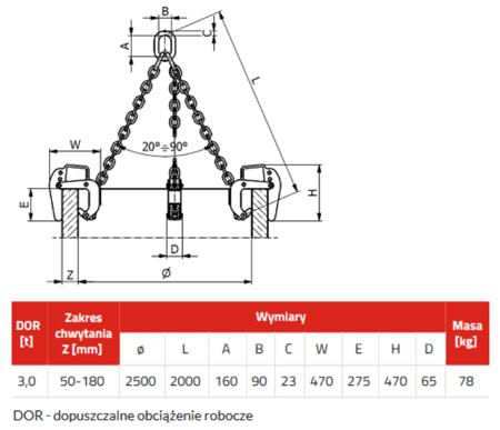 IMPROWEGLE Zawiesie łańcuchowe 3-cięgnowe zakończone uchwytami do podnoszenia kręgów betonowych GDA 3,0 (udźwig: 3 T, zakres chwytania: 50-180 mm) 3398556