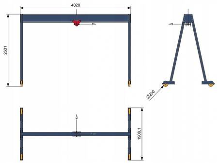 Marted Suwnica bramowa - dźwig mobilny (udźwig: 3000 kg, wysokość: 2631 mm, szerokość: 4020 mm, szerokość światła suwnicy: 3840 mm) 16776547