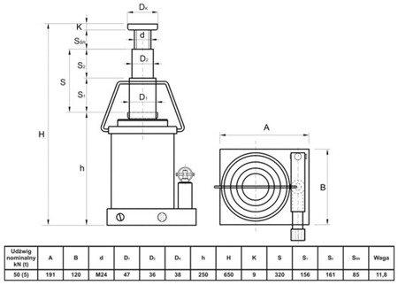 Podnośnik hydrauliczny teleskopowy - wysoki (wysokość podnoszenia min/max: 250/650mm, udźwig: 5T) 62776164