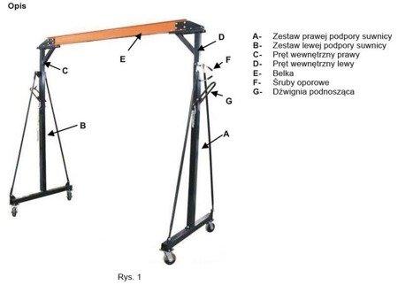 RETOR 322+55970039 Suwnica bramowa, mobilny dźwig portalowy + wyciągarka linowa elektryczna z wózkiem (udźwig wciągarki/suwnicy: 500/1000 kg)