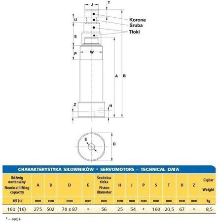 Siłownik hydrauliczny (wysokość podnoszenia min/max: 275/502mm, udźwig: 16T) 62776199
