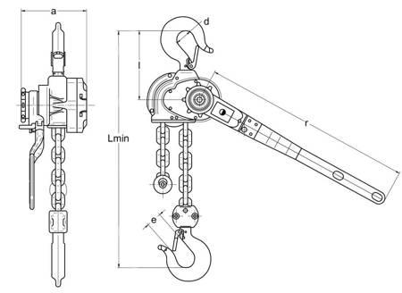 Wciągnik łańcuchowy dźwigniowy - wersja przeciwwybuchowa (wysokość podnoszenia: 5,5m, udźwig: 1,6 T) 22076883