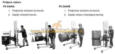 Wózek podnośnikowy ręczny do beczek (udźwig: 400 kg) 03010019
