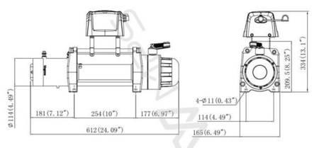 Wyciągarka KingOne ORCA 11.0 [4990kg] z liną syntetyczną 12V (lina: 10mm 28m w oplocie 10400 kg +hak) 81877874