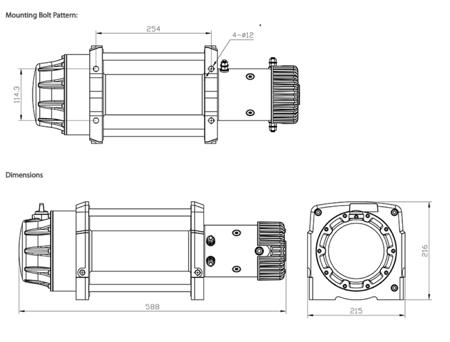 Wyciągarka XTR 15000lbs [6810kg] z liną syntetyczną 12V (lina: 14mm 25m) 81877824