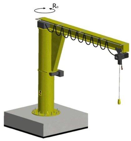 Żuraw słupowy obrotowy z wciągnikiem łańcuchowy elektrycznym zintegrowany z wózkiem (udźwig: 1000 kg, wysięg: 4000mm, wysokość podnoszenia: 4168mm) 33976005