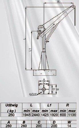 Żuraw ze stopą AISI316 i wciągarką ręczną z liną AISI316 12m (udźwig: 250 kg, wysokość podnoszenia: 1945-2440 mm) 53376241